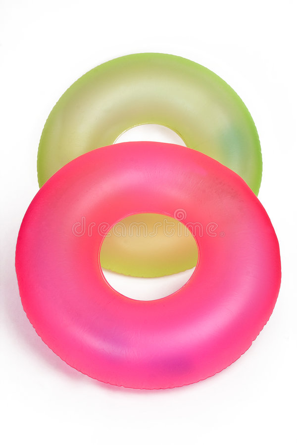Pair of Inflatable Round Pool Tubes royalty free stock photography
