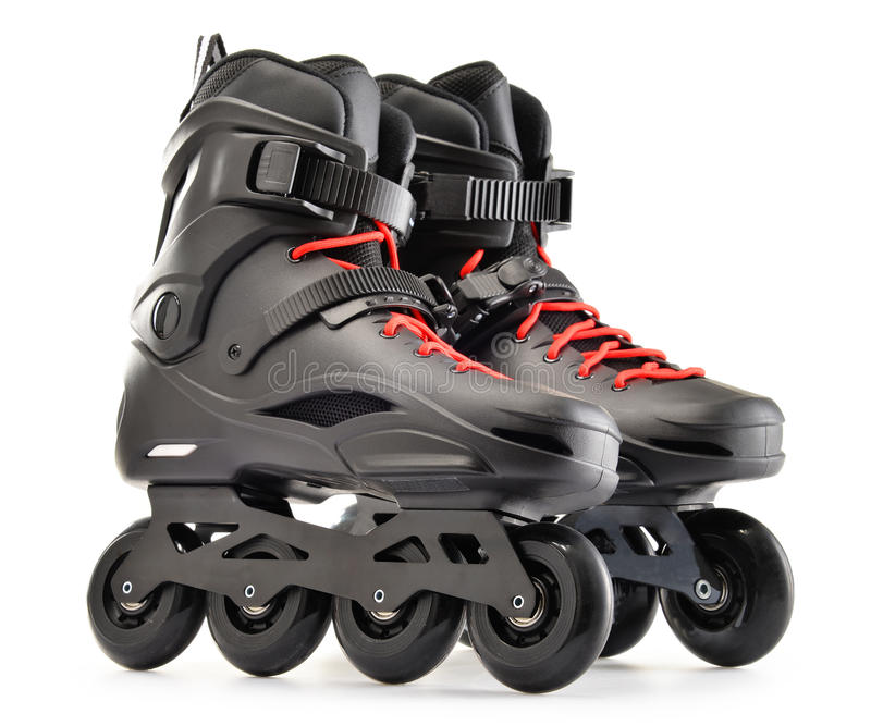 Pair of inline skates on white background.  royalty free stock images