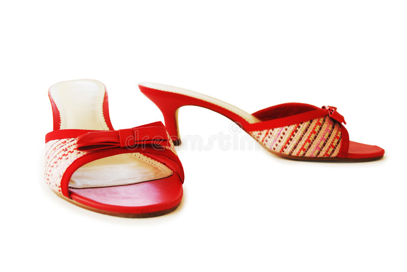 Pair of lady's red shoes. Pair of lady's red summer shoes royalty free stock image