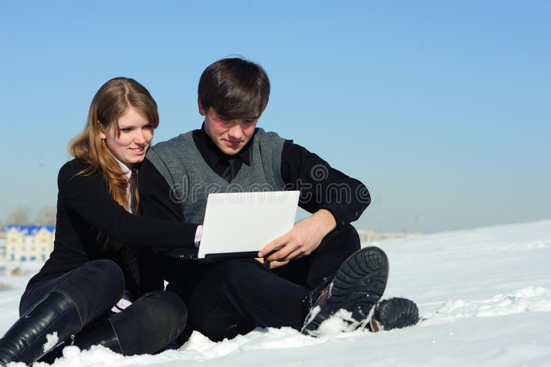 Download Pair with laptop stock image. Image of male, electronic - 20772913
