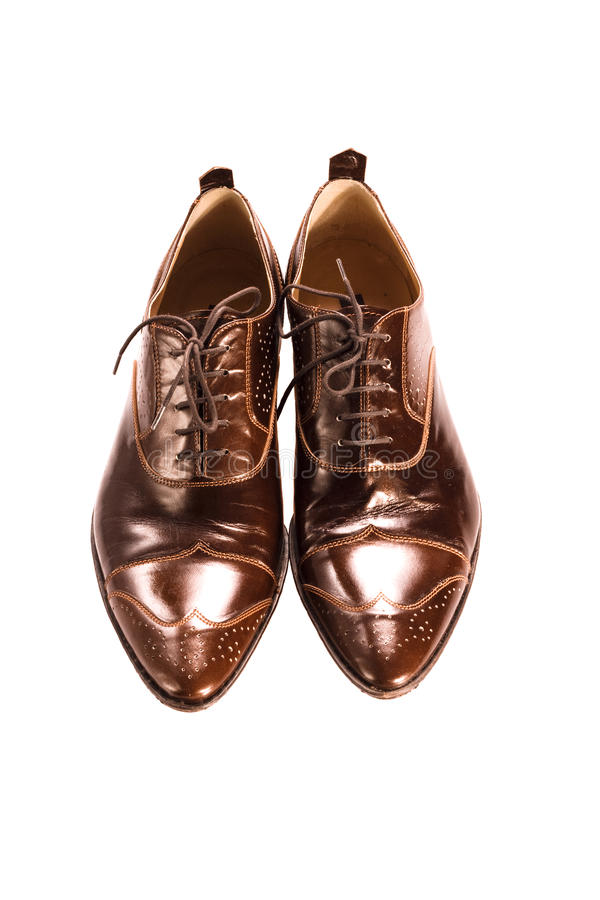 Pair of leather shoes royalty free stock photography
