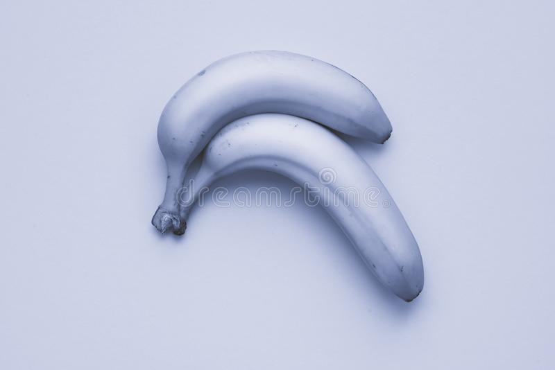 Pair of Light grey blue Banana. Two curved banana lying at light gey and blue cardboard background giving the picture a nearly monochrome without color stock photos