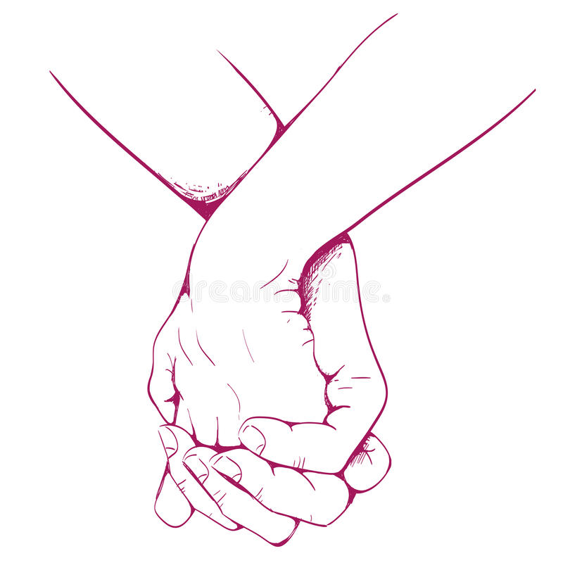 Pair of lovers hand woven together. Vector vector illustration