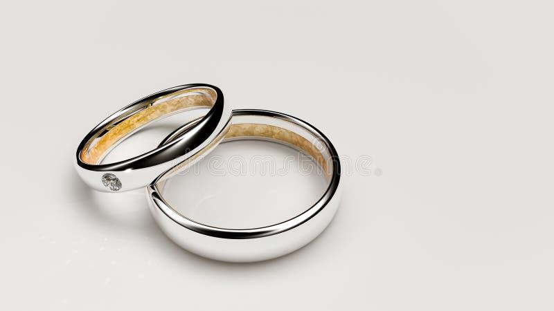 Pair of lovers wedding rings stock photo