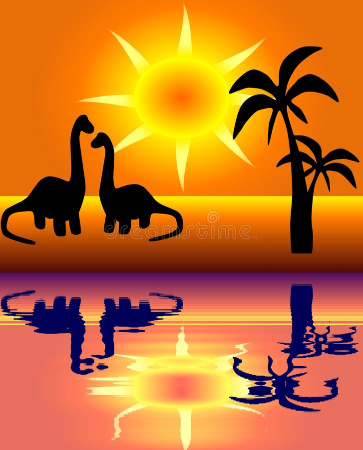 A pair of loving dinos. View of a pair of dinosaurs who love each other on the background of cloudless sky with yellow and orange shining sun and some palms royalty free illustration