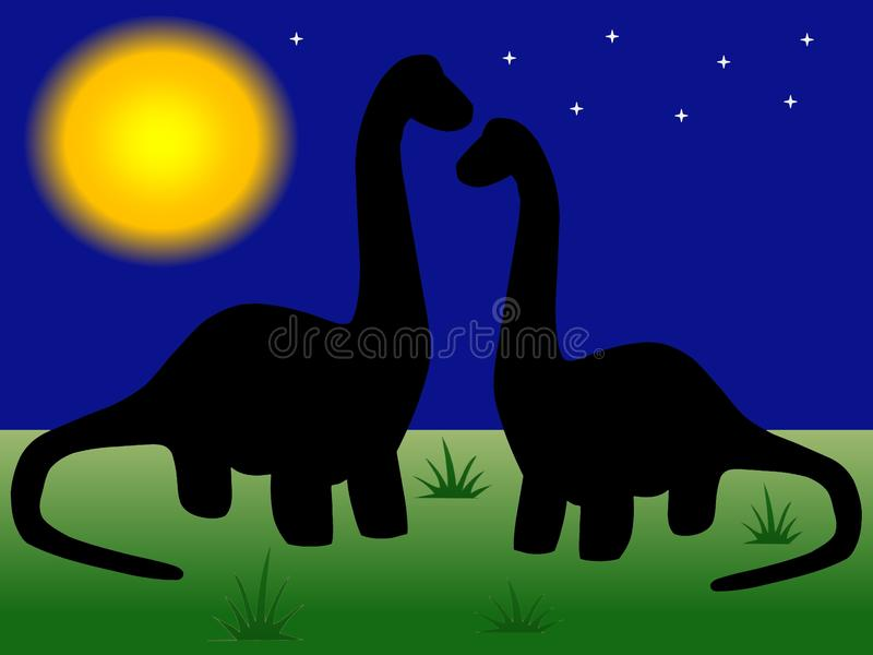 A pair of loving dinos. View of a pair of dinosaurs who love each other on the background of cloudless starlit sky and full yellow shining moon royalty free illustration