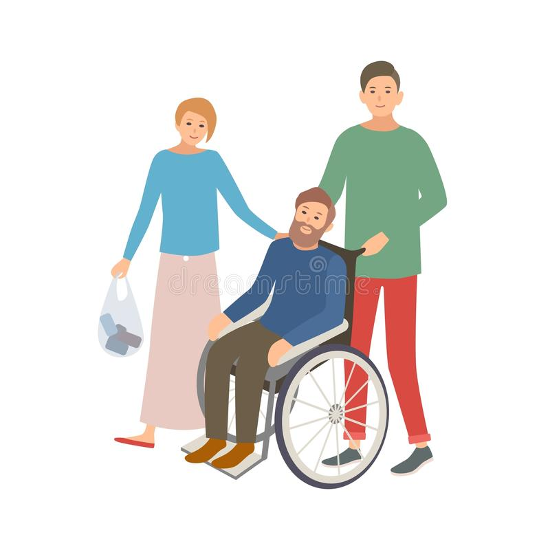 Pair of male and female volunteers helping disabled person. Teenage boy and girl assisting man in wheelchair. Voluntary. Social aid and care. Colorful vector vector illustration