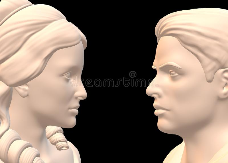 A pair of man and woman roman greek nobles facing each other against a black backdrop royalty free stock images