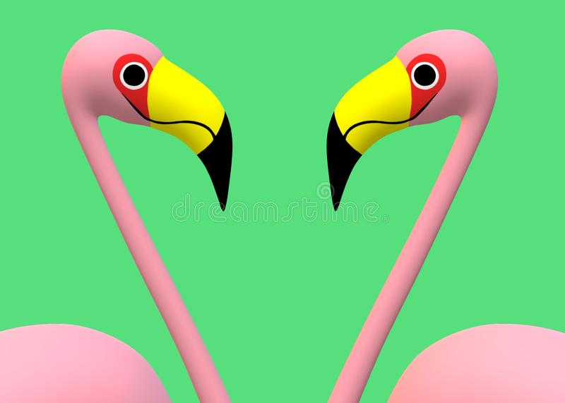 A pair of maroon pink flamingos facing each other stock photos