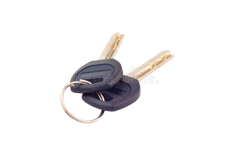 Pair of metal shiny keys with black plastic or rubber handle attached of keyring for door or car isolated on white. Background royalty free stock photos