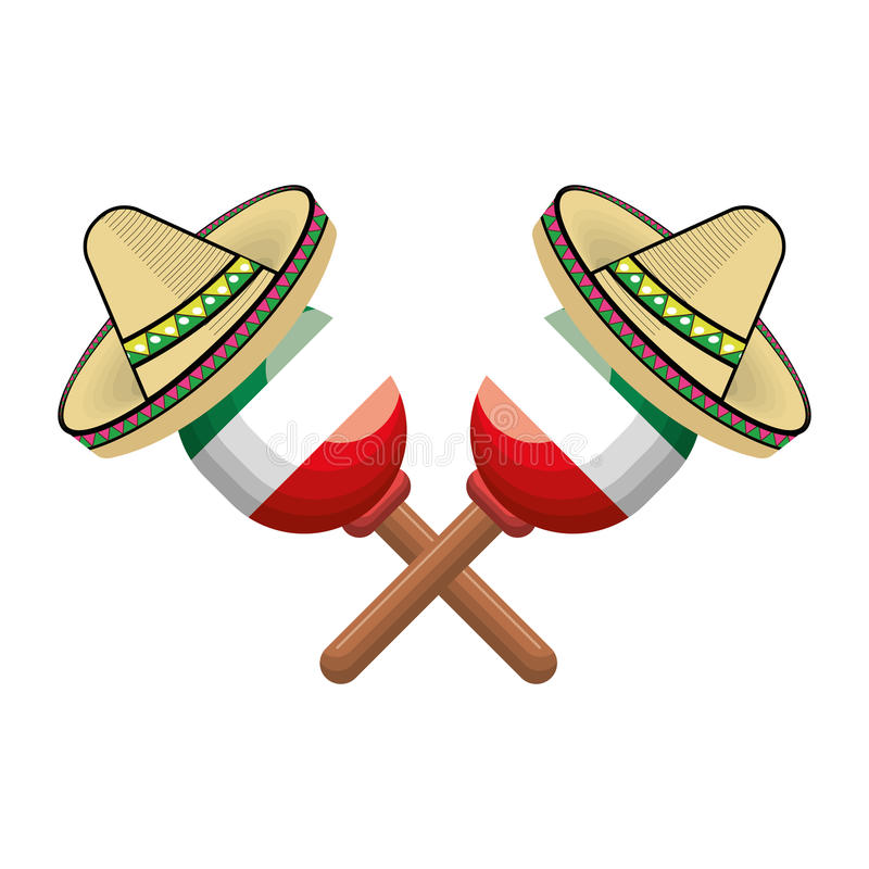 Pair mexican maraca instrument with traditional hat royalty free illustration