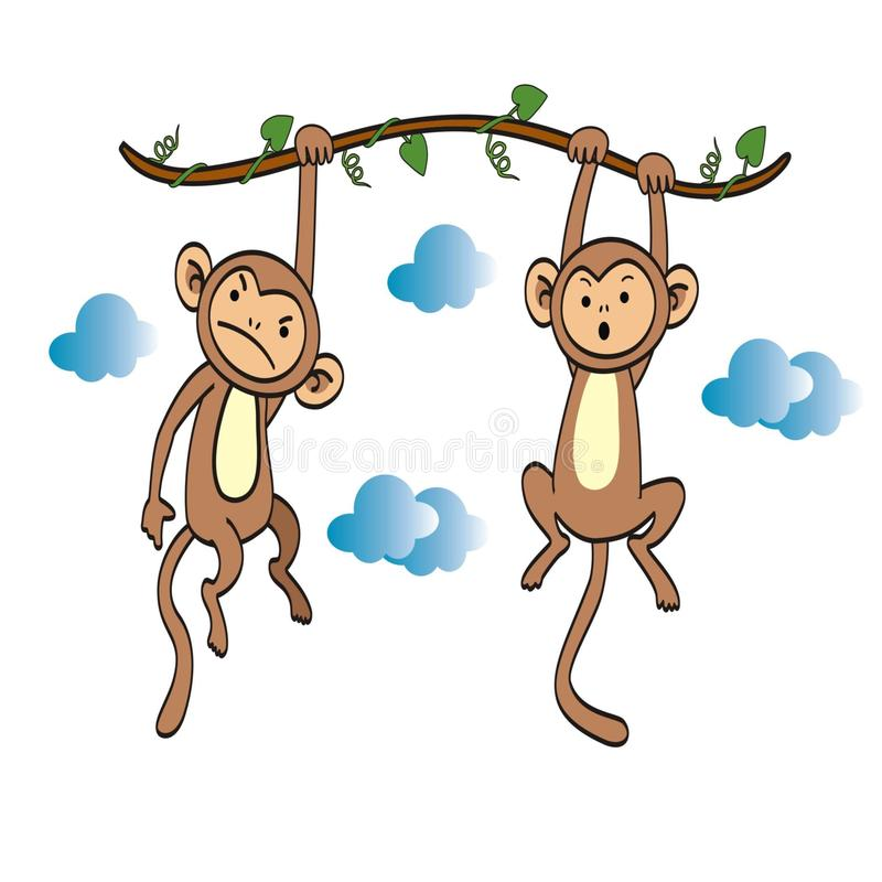 A pair of monkeys hanging from a tree branch stock illustration