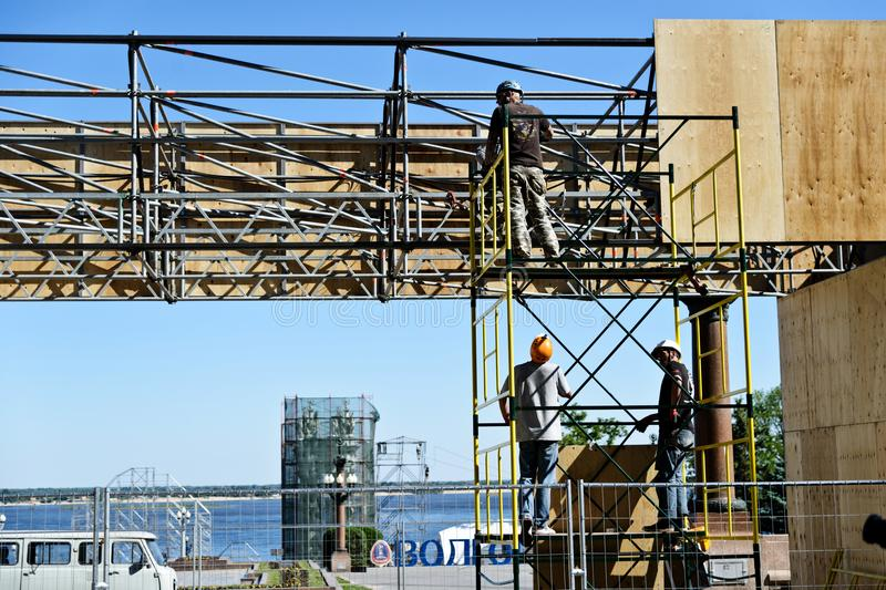 Construction and installation work at height. royalty free stock photography