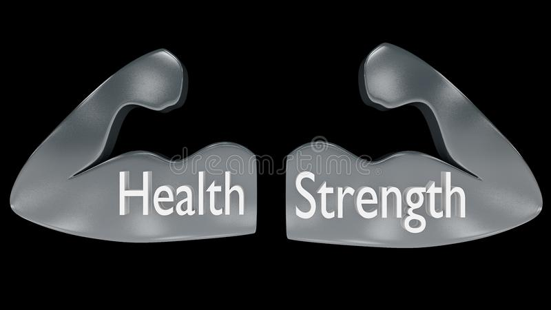 Pair of muscular arms outlines in metal with `Health` and `Strength` written on them. stock illustration
