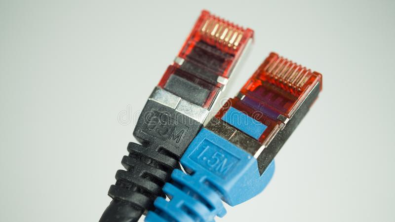 Pair of network cables stock photos