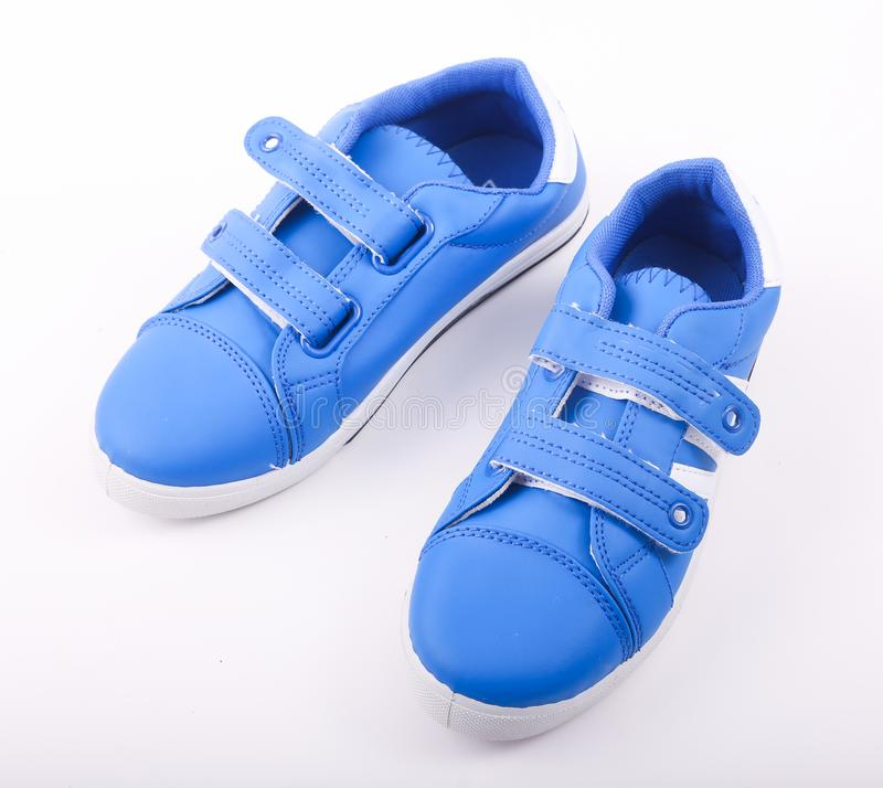 Blue Shoe. Pair of new blue Shoe sneakers royalty free stock image