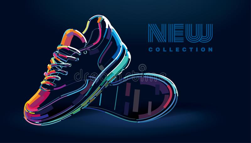 Pair of new sport running shoes stock illustration