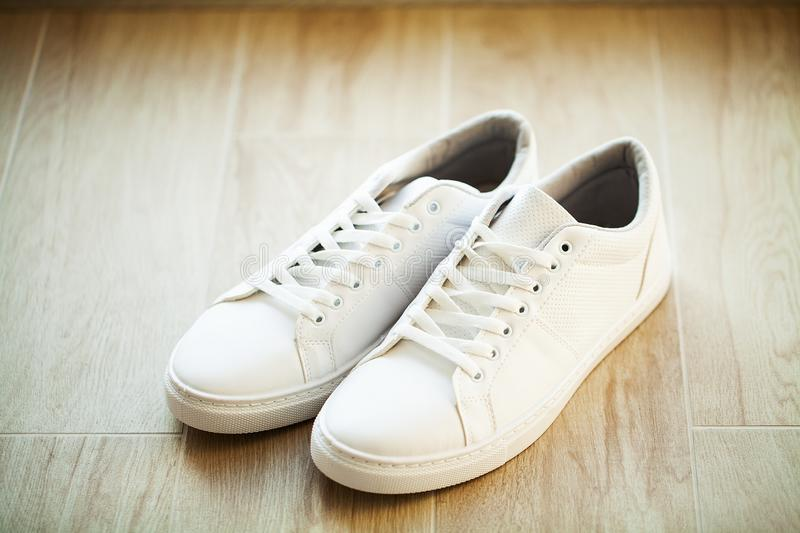 White Sneakers Wooden Floor Picture Image