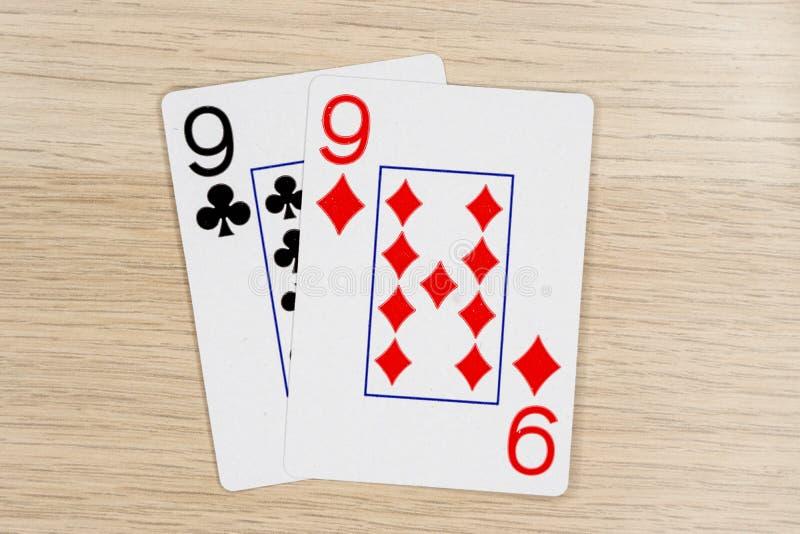 Pair of nines 9 - casino playing poker cards stock photos