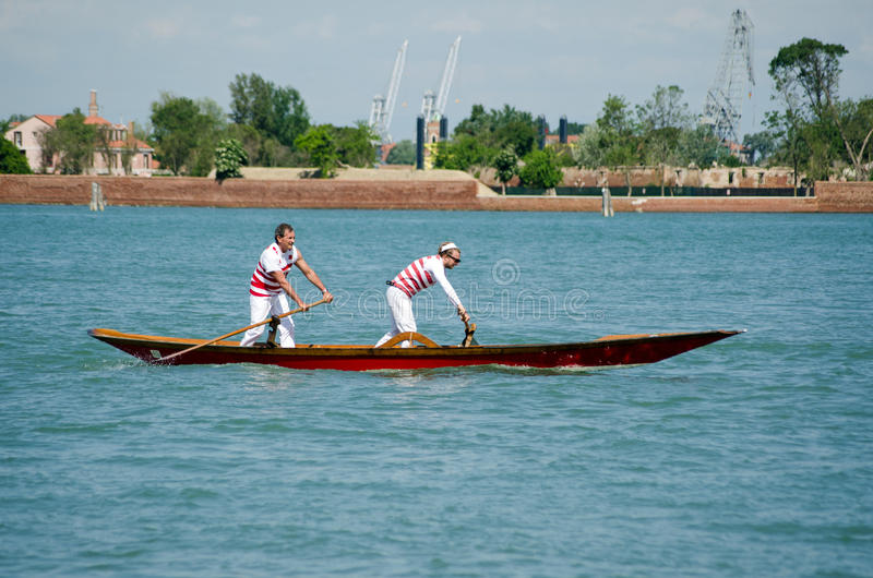 Pair of oarsmen, Venice royalty free stock photos