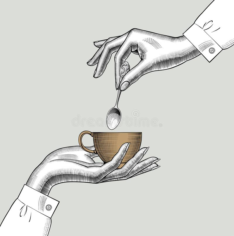 Free Pair Of Female Hands With A Coffee Cup And Spoon Stock Photos - 108580373