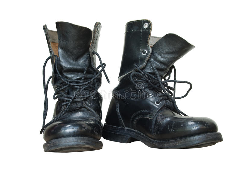 Pair of old black combat isolated royalty free stock photo
