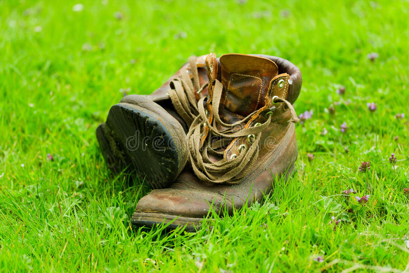 Download Pair of old boots on grass stock photo. Image of boots - 25879676