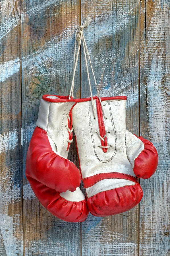 Pair of Old Boxing Gloves stock photography