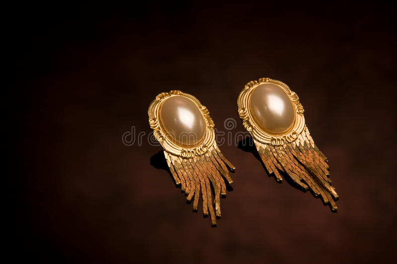 Pair Of Old-fashioned Earrings Stock Image