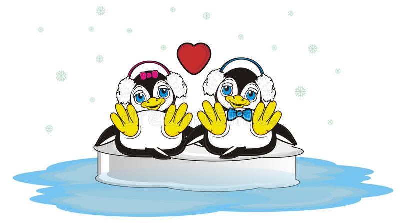 Pair of penguins in love with headphones vector illustration