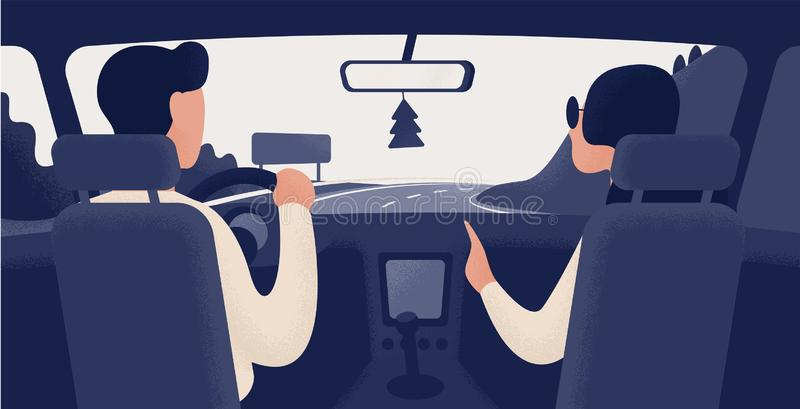 Pair of people sitting on front seats of car moving along highway. Automobile driver and passenger, back view. Road royalty free illustration