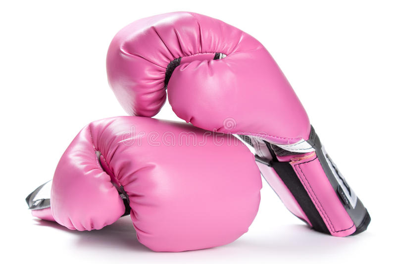 Pair of pink boxing gloves isolated on white. A Pair of pink boxing gloves isolated on white stock images