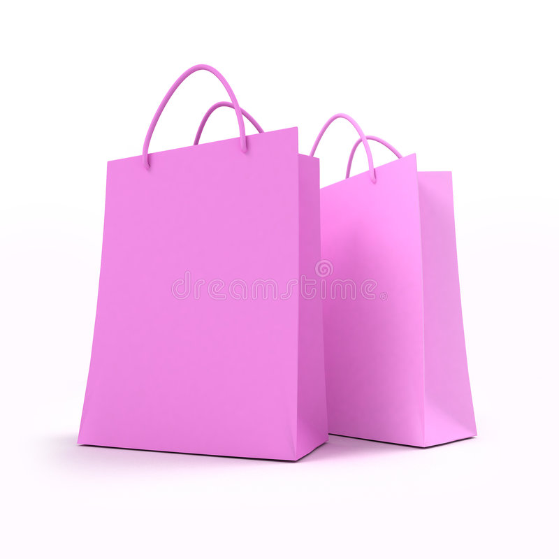Pair of pink shopping bags stock illustration