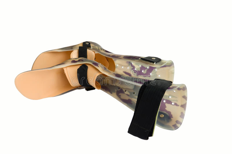 A pair of plastic orthopaedics braces royalty free stock images