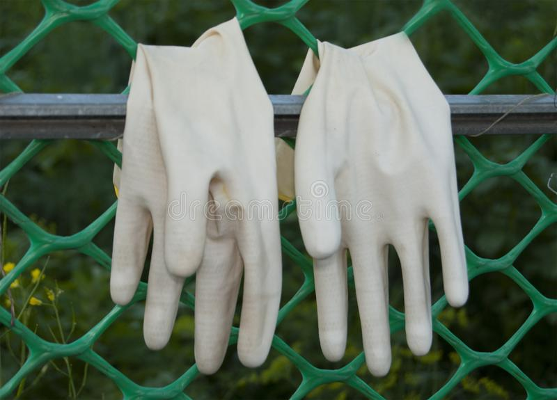 A pair of protective gloves for working in the garden stock photos
