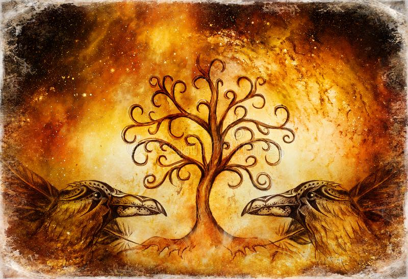 Pair of ravens with tree of life symbol. vector illustration