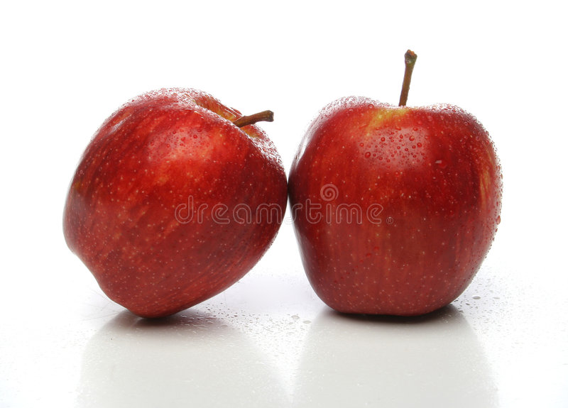 Download A Pair Of Red Apples With Drops Stock Photo - Image: 639634