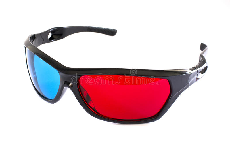 A pair of red-cyan 3D glasses royalty free stock photo