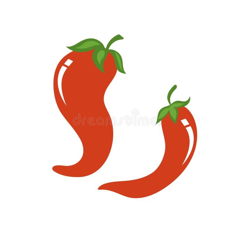 Red pepper cartoon vector illustration. Pair of red pepper cartoon vector illustration stock illustration