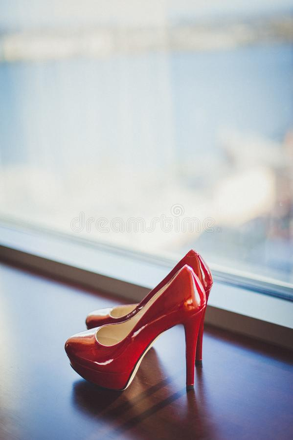 Pair of red shoes royalty free stock image