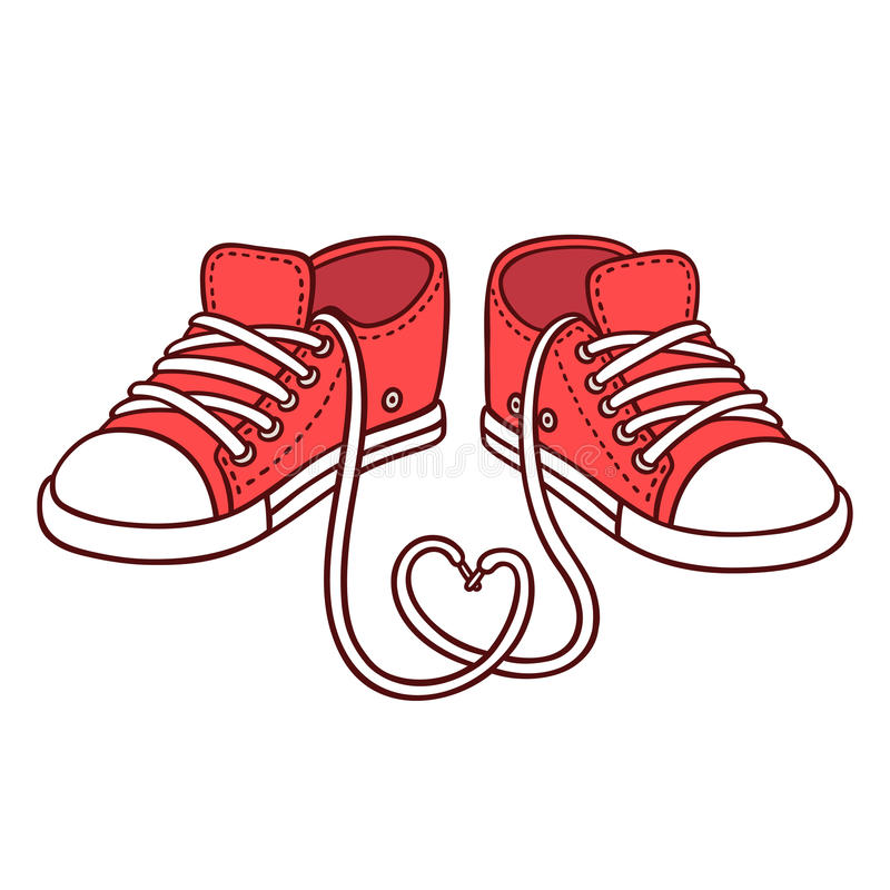 Pair of red sneakers vector illustration