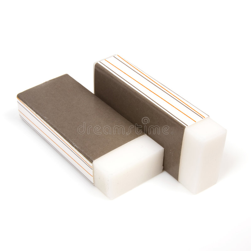 Pair of rubber erasers stock photography
