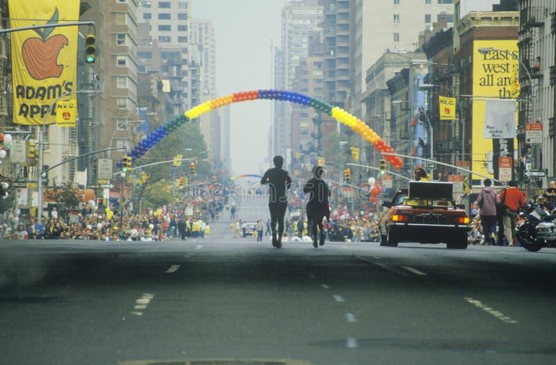 Pair of runners in NY City Marathon stock image