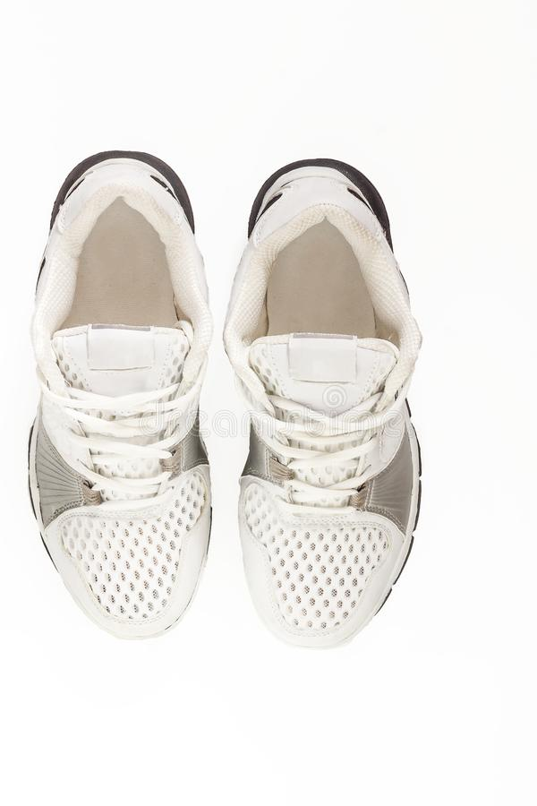 Pair of running shoes isolated in white background. With clipping path. royalty free stock photos