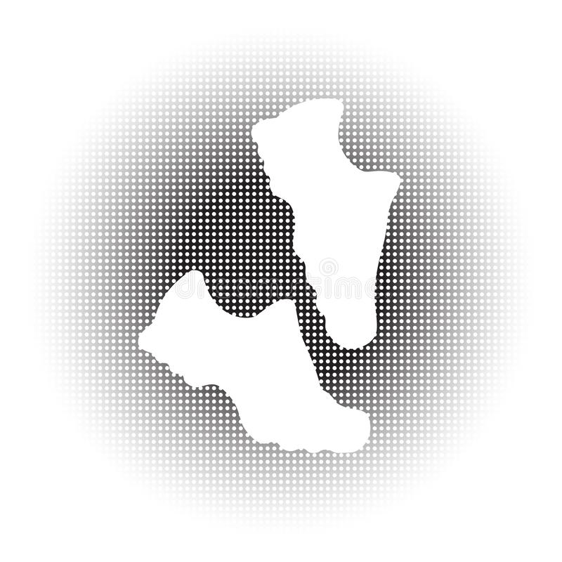 A pair of running shoes. Vector black and white icon for marathon and fitness. Isolated illustration. royalty free stock images