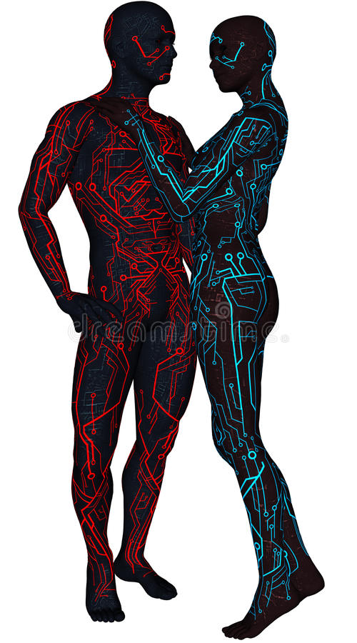 Pair of sci-fi android vector illustration