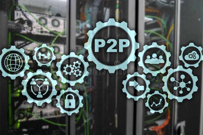Pair ? scruter P2P sur l'?cran virtuel avec un fond de pi?ce de serveur image libre de droits