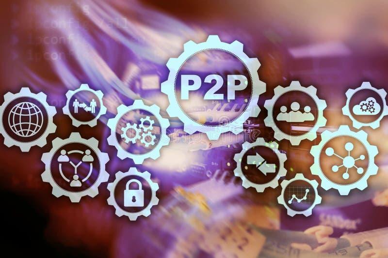 Pair ? scruter P2P sur l'?cran virtuel avec un fond de pi?ce de serveur photos stock