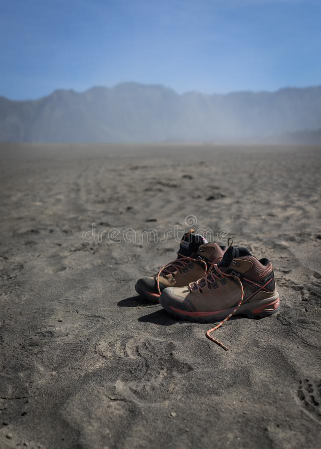 Pair of Shoes on the Desert stock image
