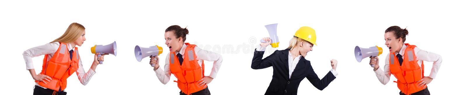 Pair shouting at each other on white royalty free stock photo